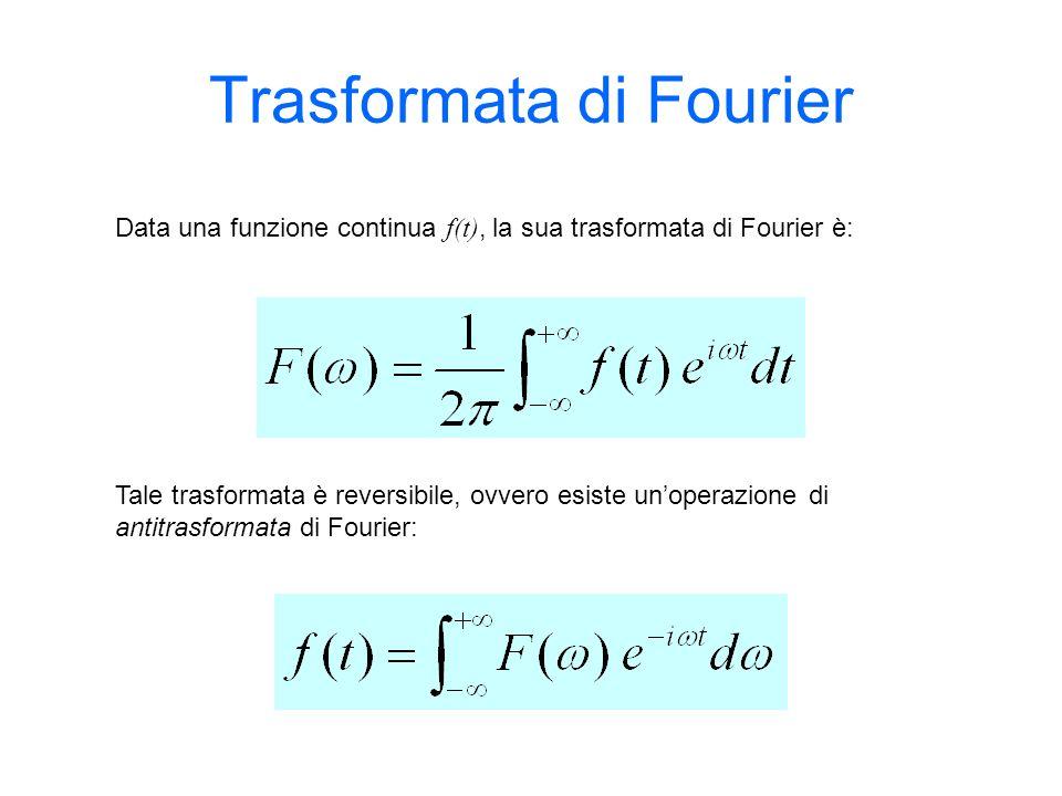 Trasformata di Fourier Data una funzione continua f(t), la sua trasformata di Fourier è: Tale trasformata è reversibile, ovvero esiste unoperazione di