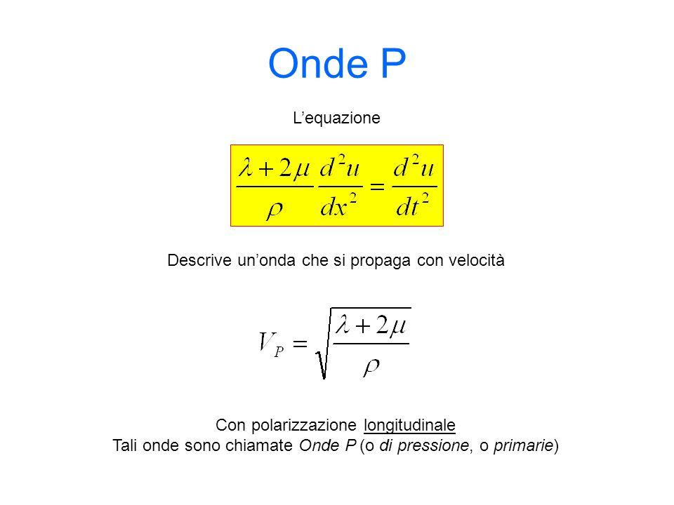 Onde P Descrive unonda che si propaga con velocità Lequazione Con polarizzazione longitudinale Tali onde sono chiamate Onde P (o di pressione, o prima
