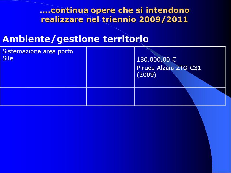 ….continua opere che si intendono realizzare nel triennio 2009/2011 Sistemazione area porto Sile 180.000,00 Piruea Alzaia ZTO C31 (2009) Ambiente/gestione territorio