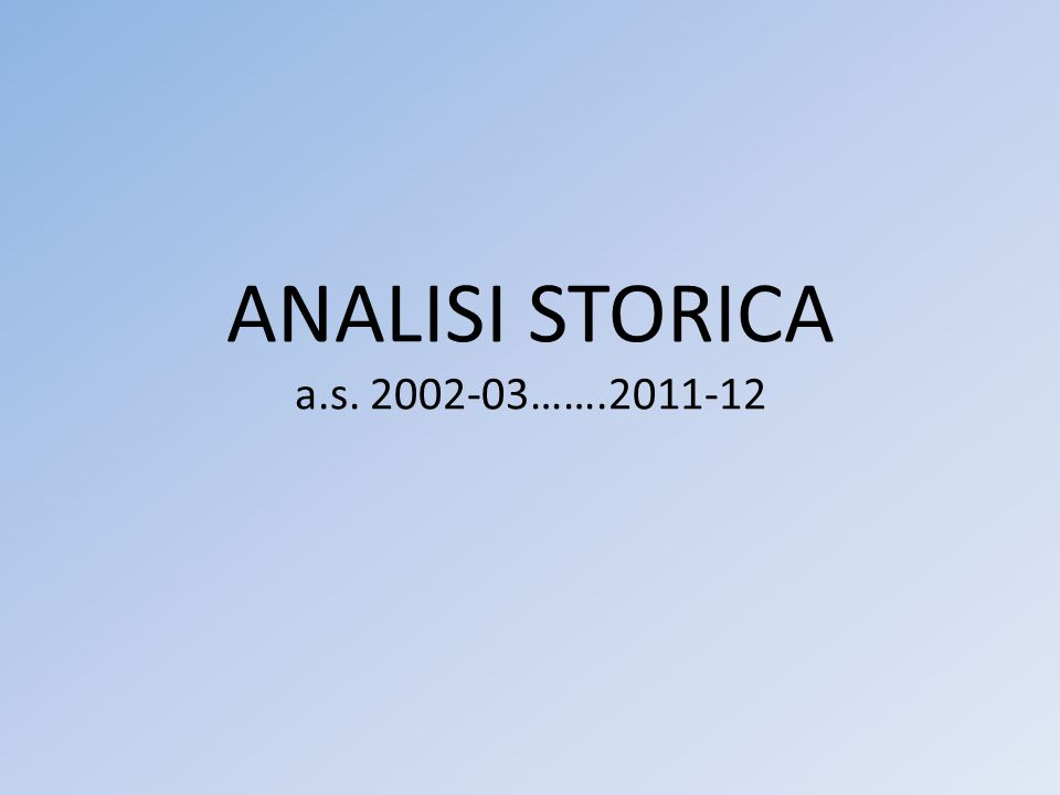 ANALISI STORICA a.s. 2002-03…….2011-12