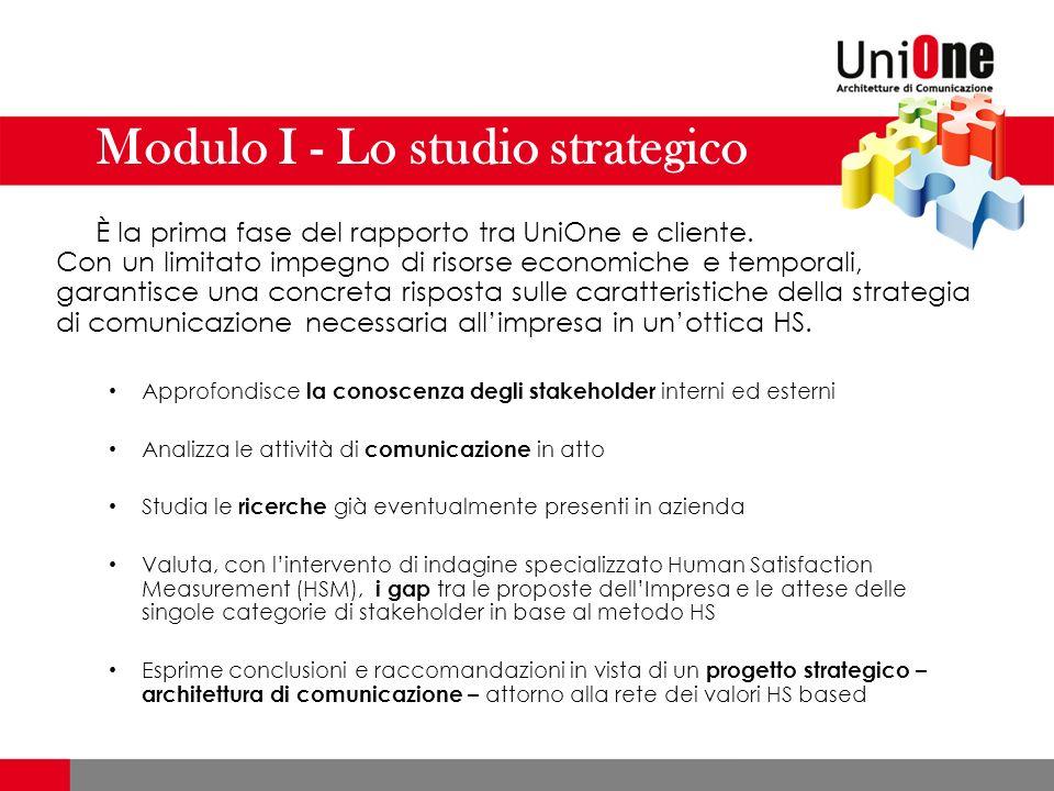 Modulo I - Lo studio strategico È la prima fase del rapporto tra UniOne e cliente.