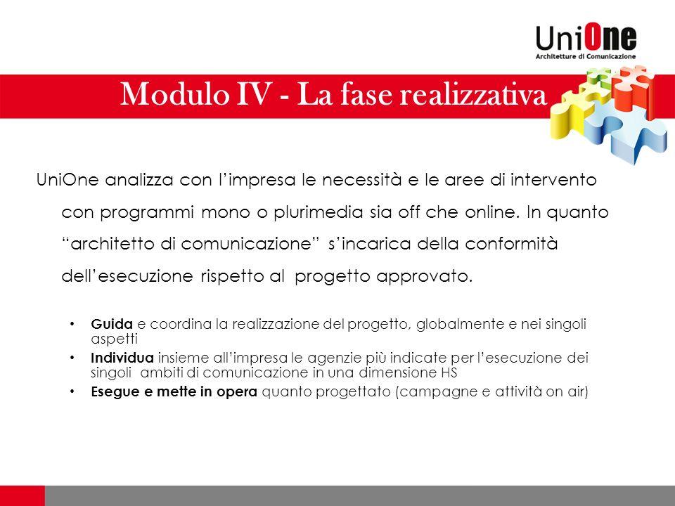 Modulo IV - La fase realizzativa UniOne analizza con limpresa le necessità e le aree di intervento con programmi mono o plurimedia sia off che online.