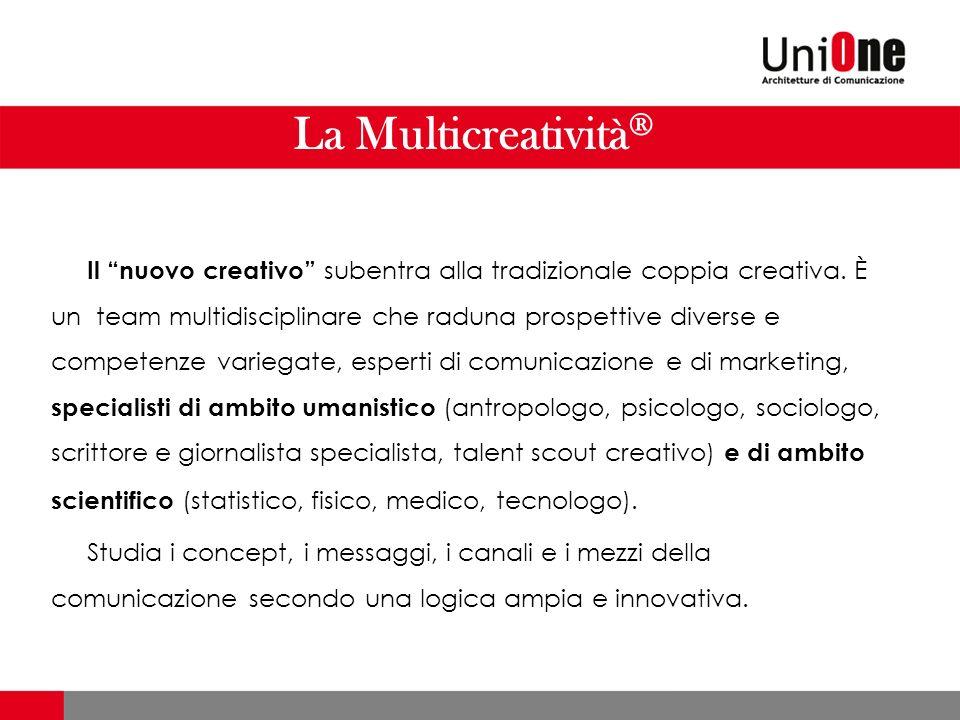 La Multicreatività ® Il nuovo creativo subentra alla tradizionale coppia creativa.