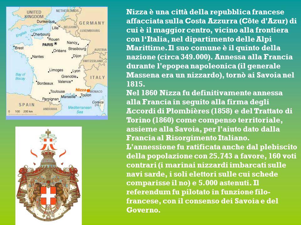Nizza è una città della repubblica francese affacciata sulla Costa Azzurra (Côte d Azur) di cui è il maggior centro, vicino alla frontiera con lItalia, nel dipartimento delle Alpi Marittime.