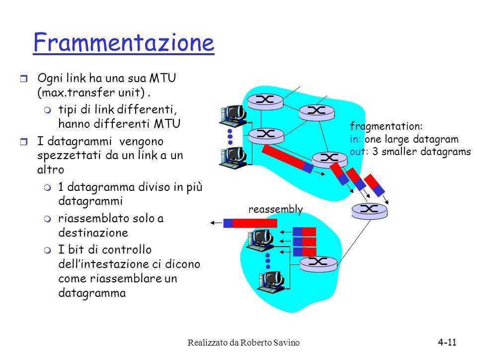 Realizzato da Roberto Savino4-11 Frammentazione r Ogni link ha una sua MTU (max.transfer unit). m tipi di link differenti, hanno differenti MTU r I da