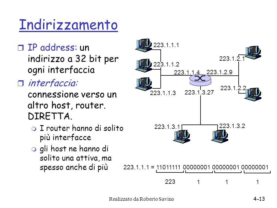 Realizzato da Roberto Savino4-13 Indirizzamento r IP address: un indirizzo a 32 bit per ogni interfaccia r interfaccia: connessione verso un altro hos
