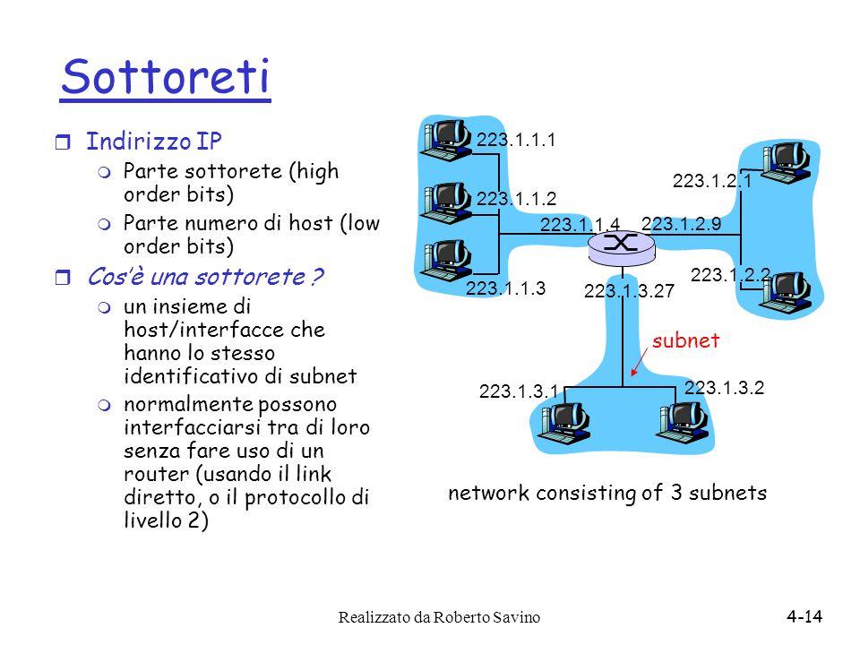 Realizzato da Roberto Savino4-14 Sottoreti r Indirizzo IP m Parte sottorete (high order bits) m Parte numero di host (low order bits) r Cosè una sotto