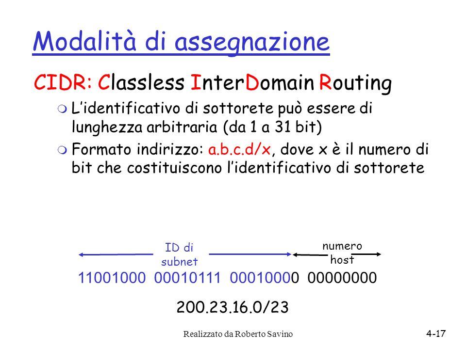 Realizzato da Roberto Savino4-17 Modalità di assegnazione CIDR: Classless InterDomain Routing m Lidentificativo di sottorete può essere di lunghezza a