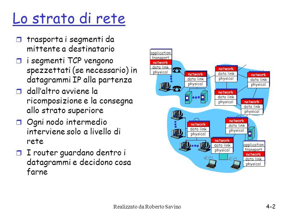 Realizzato da Roberto Savino4-2 Lo strato di rete r trasporta i segmenti da mittente a destinatario r i segmenti TCP vengono spezzettati (se necessari