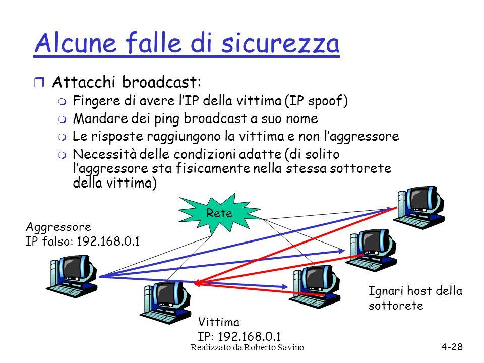 Realizzato da Roberto Savino4-28 Alcune falle di sicurezza r Attacchi broadcast: m Fingere di avere lIP della vittima (IP spoof) m Mandare dei ping br