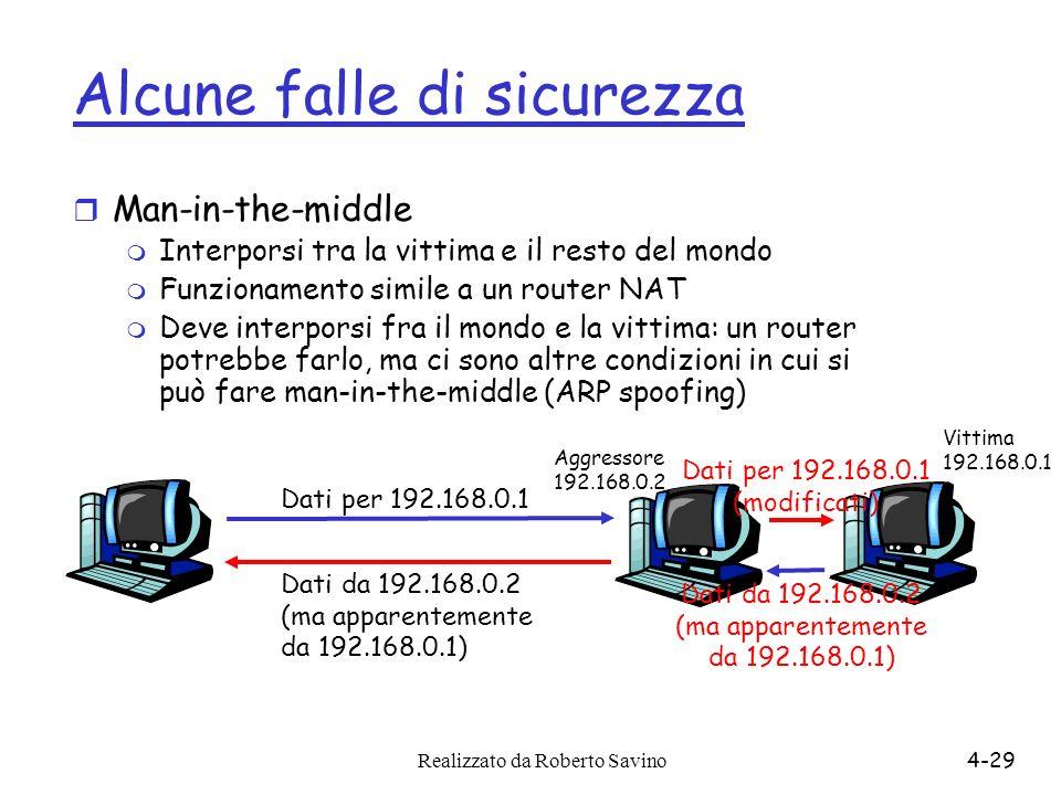 Realizzato da Roberto Savino4-29 Alcune falle di sicurezza r Man-in-the-middle m Interporsi tra la vittima e il resto del mondo m Funzionamento simile