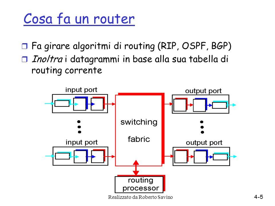 Realizzato da Roberto Savino4-5 Cosa fa un router r Fa girare algoritmi di routing (RIP, OSPF, BGP) r Inoltra i datagrammi in base alla sua tabella di