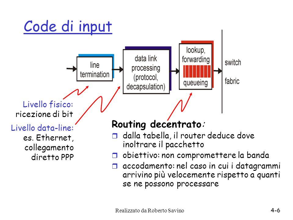 Realizzato da Roberto Savino4-6 Code di input Routing decentrato: r dalla tabella, il router deduce dove inoltrare il pacchetto r obiettivo: non compr