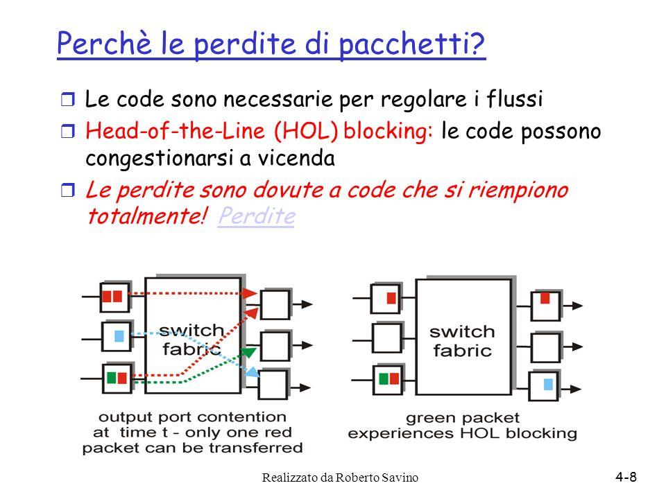 Realizzato da Roberto Savino4-8 Perchè le perdite di pacchetti? r Le code sono necessarie per regolare i flussi r Head-of-the-Line (HOL) blocking: le