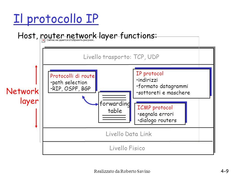 Realizzato da Roberto Savino4-9 Il protocollo IP forwarding table Host, router network layer functions: Protocolli di route path selection RIP, OSPF,