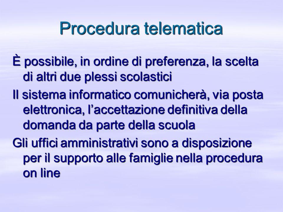 Procedura telematica È possibile, in ordine di preferenza, la scelta di altri due plessi scolastici Il sistema informatico comunicherà, via posta elet
