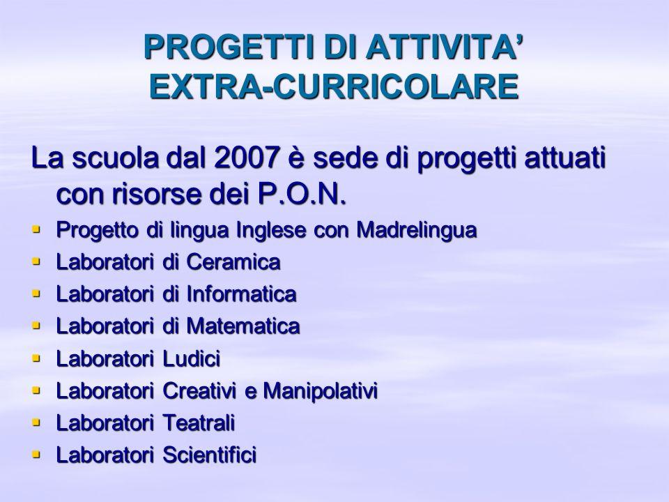 PROGETTI DI ATTIVITA EXTRA-CURRICOLARE La scuola dal 2007 è sede di progetti attuati con risorse dei P.O.N. Progetto di lingua Inglese con Madrelingua