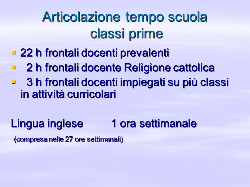 Articolazione tempo scuola classi prime 22 h frontali docenti prevalenti 22 h frontali docenti prevalenti 2 h frontali docente Religione cattolica 2 h