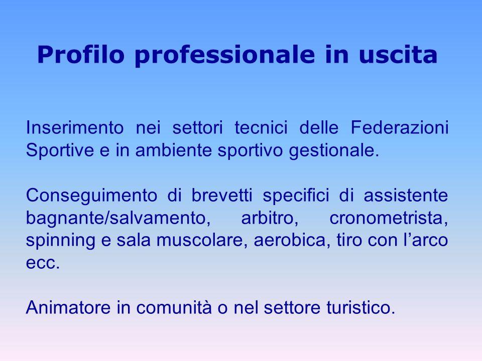 Profilo professionale in uscita Inserimento nei settori tecnici delle Federazioni Sportive e in ambiente sportivo gestionale.