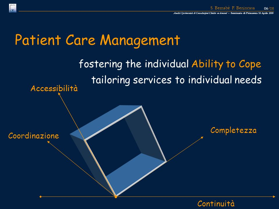 fostering the individual Ability to Cope Patient Care Management Continuità Completezza Accessibilità Coordinazione Accessibilità tailoring services t