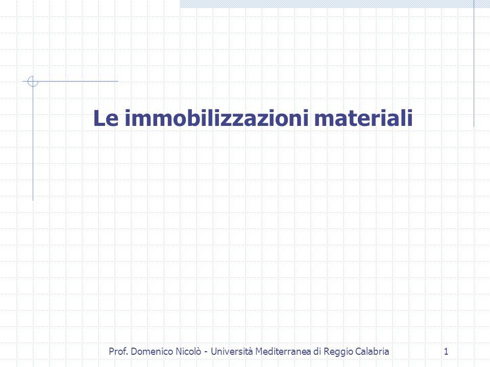 Prof. Domenico Nicolò - Università Mediterranea di Reggio Calabria1 Le immobilizzazioni materiali