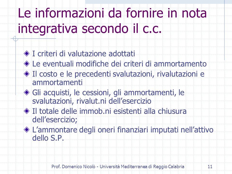 Prof. Domenico Nicolò - Università Mediterranea di Reggio Calabria11 Le informazioni da fornire in nota integrativa secondo il c.c. I criteri di valut