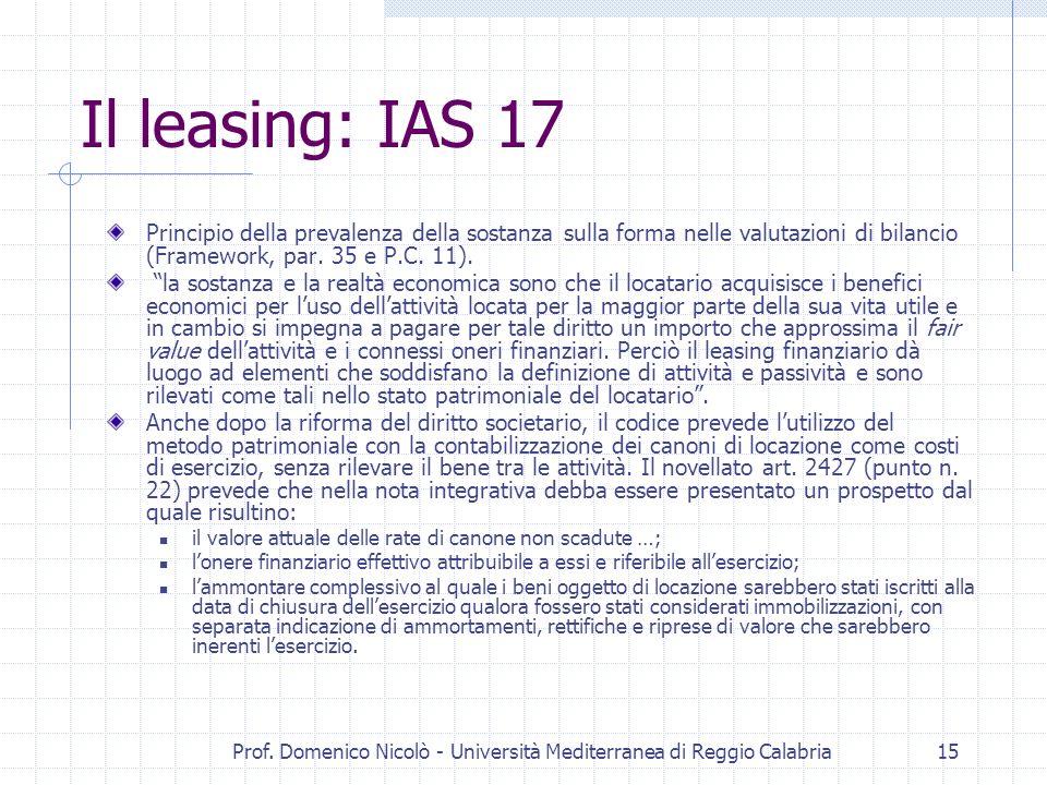 Prof. Domenico Nicolò - Università Mediterranea di Reggio Calabria15 Il leasing: IAS 17 Principio della prevalenza della sostanza sulla forma nelle va