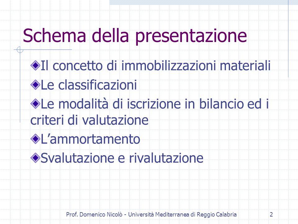 Prof. Domenico Nicolò - Università Mediterranea di Reggio Calabria2 Schema della presentazione Il concetto di immobilizzazioni materiali Le classifica
