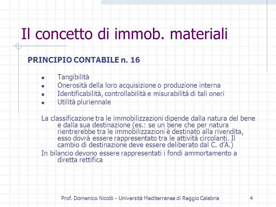 Prof. Domenico Nicolò - Università Mediterranea di Reggio Calabria4 Il concetto di immob. materiali PRINCIPIO CONTABILE n. 16 Tangibilità Onerosità de