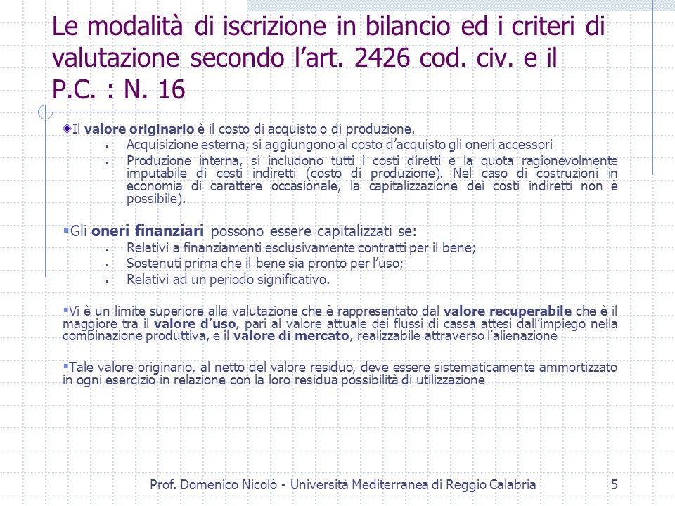 Prof. Domenico Nicolò - Università Mediterranea di Reggio Calabria5 Le modalità di iscrizione in bilancio ed i criteri di valutazione secondo lart. 24