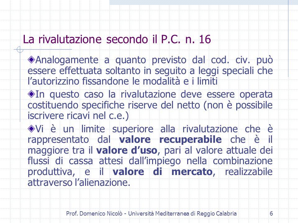 Prof. Domenico Nicolò - Università Mediterranea di Reggio Calabria6 La rivalutazione secondo il P.C. n. 16 Analogamente a quanto previsto dal cod. civ