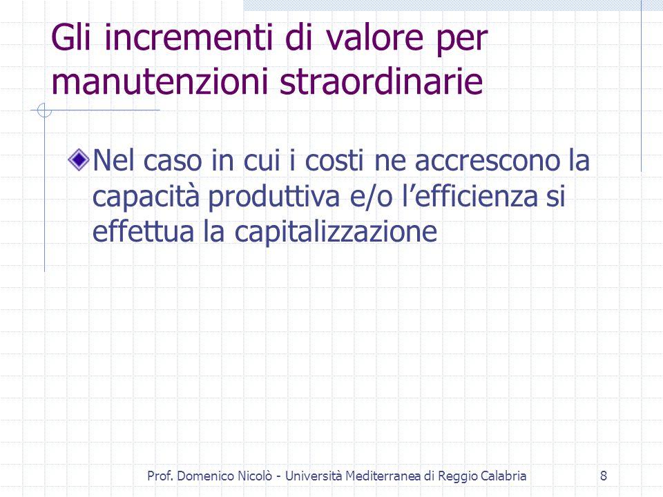 Prof. Domenico Nicolò - Università Mediterranea di Reggio Calabria8 Gli incrementi di valore per manutenzioni straordinarie Nel caso in cui i costi ne