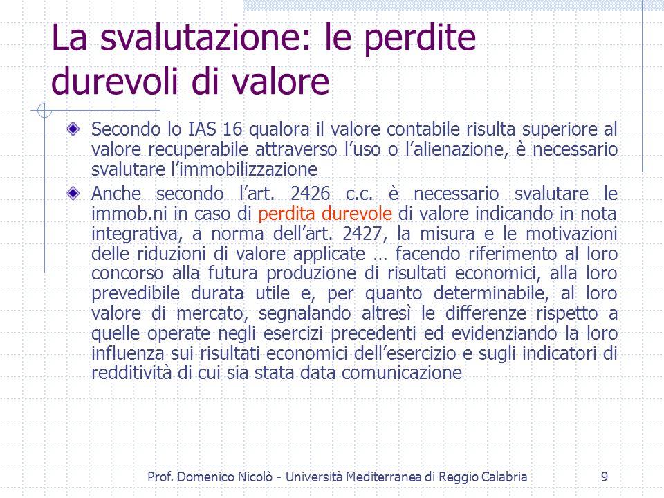 Prof. Domenico Nicolò - Università Mediterranea di Reggio Calabria9 La svalutazione: le perdite durevoli di valore Secondo lo IAS 16 qualora il valore