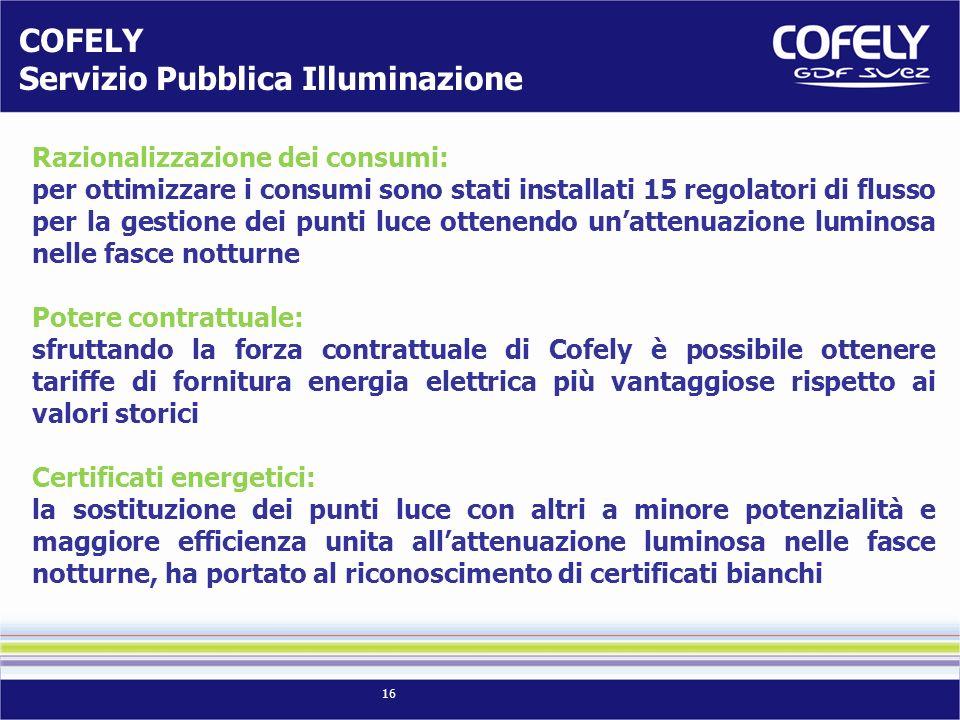 16 Razionalizzazione dei consumi: per ottimizzare i consumi sono stati installati 15 regolatori di flusso per la gestione dei punti luce ottenendo una