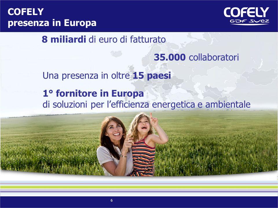 6 COFELY presenza in Europa 8 miliardi di euro di fatturato 35.000 collaboratori Una presenza in oltre 15 paesi 1° fornitore in Europa di soluzioni per lefficienza energetica e ambientale