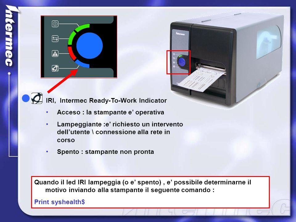 IRI, Intermec Ready-To-Work Indicator Acceso : la stampante e operativa Lampeggiante :e richiesto un intervento dellutente \ connessione alla rete in