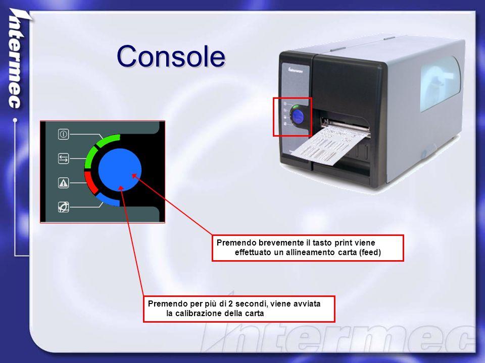 Console Premendo brevemente il tasto print viene effettuato un allineamento carta (feed) Premendo per più di 2 secondi, viene avviata la calibrazione