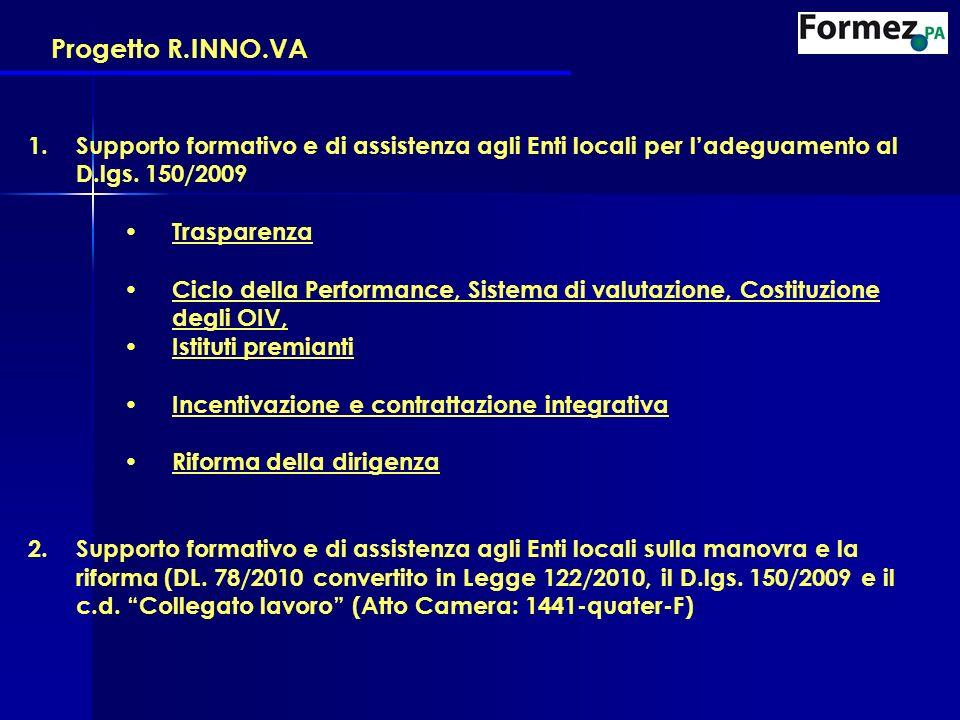 Progetto R.INNO.VA 1.Supporto formativo e di assistenza agli Enti locali per ladeguamento al D.lgs. 150/2009 Trasparenza Ciclo della Performance, Sist