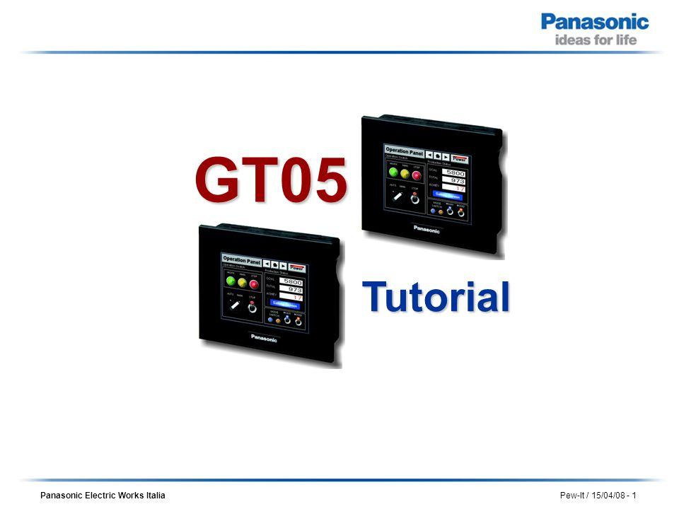 Panasonic Electric Works Italia Pew-It / 15/04/08 - 12 Scegliendo di creare un nuovo progetto viene richiesto il tipo di GT che si intende utilizzare Creazione di un progetto Selezionare il modello GT05/Monocrome e poi premere OK
