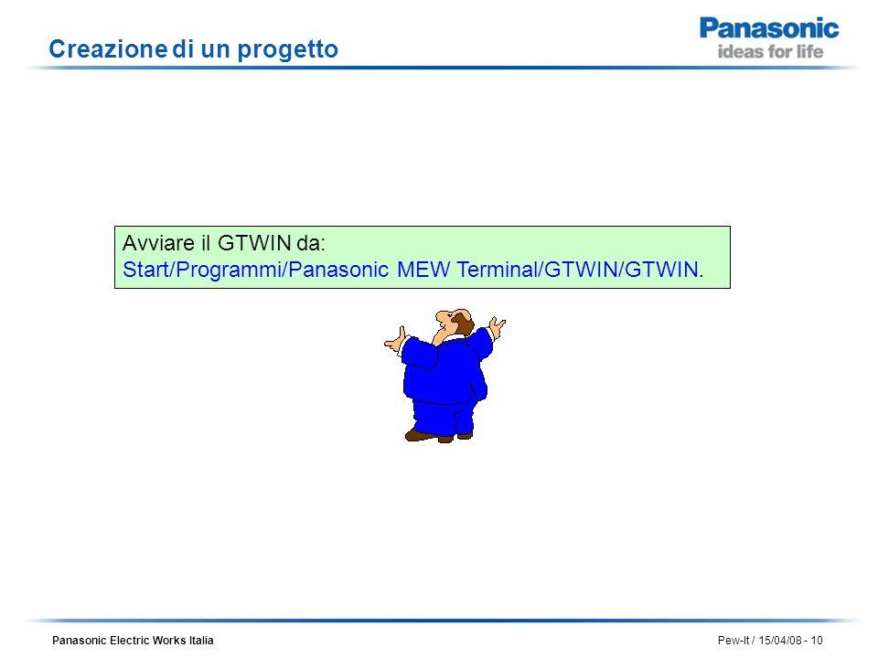 Panasonic Electric Works Italia Pew-It / 15/04/08 - 10 Creazione di un progetto Avviare il GTWIN da: Start/Programmi/Panasonic MEW Terminal/GTWIN/GTWI