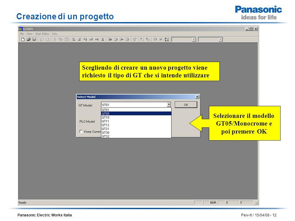 Panasonic Electric Works Italia Pew-It / 15/04/08 - 12 Scegliendo di creare un nuovo progetto viene richiesto il tipo di GT che si intende utilizzare