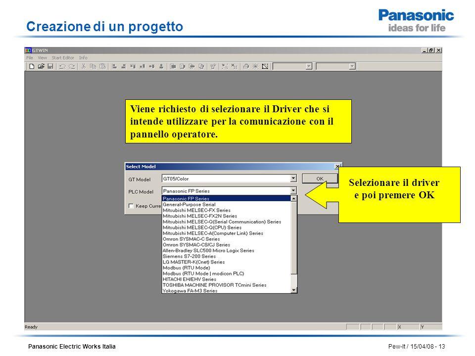 Panasonic Electric Works Italia Pew-It / 15/04/08 - 13 Viene richiesto di selezionare il Driver che si intende utilizzare per la comunicazione con il