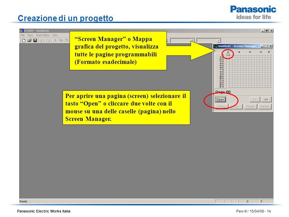 Panasonic Electric Works Italia Pew-It / 15/04/08 - 14 Screen Manager o Mappa grafica del progetto, visualizza tutte le pagine programmabili (Formato