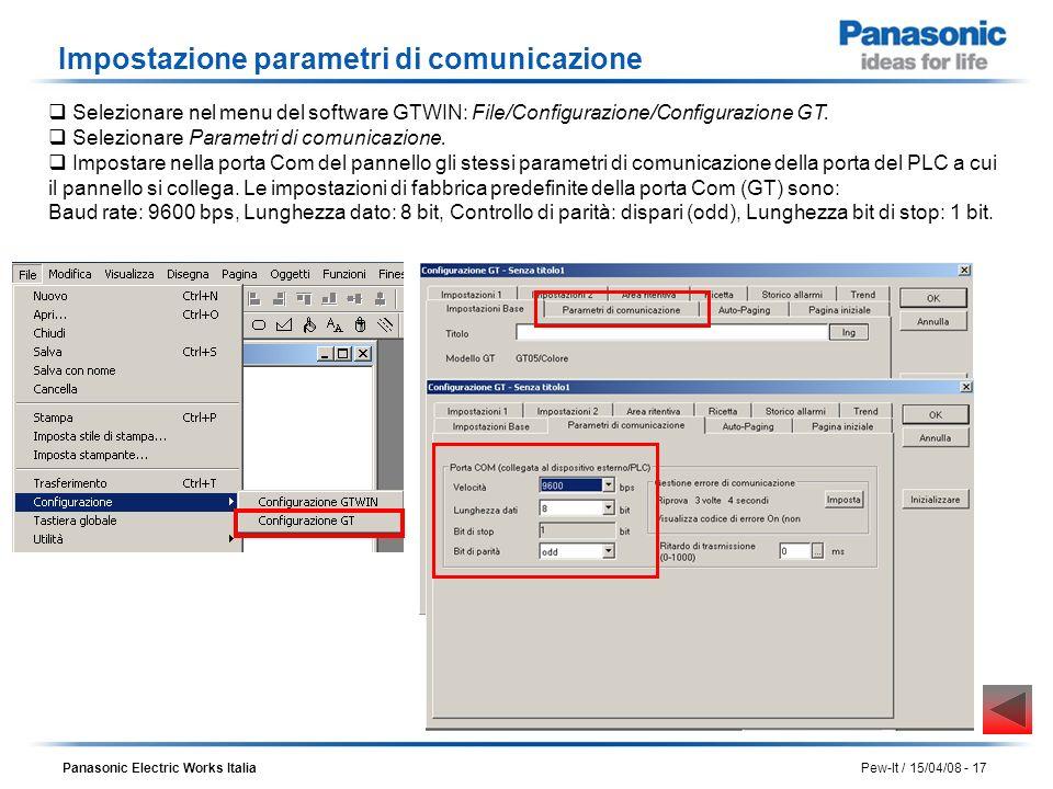 Panasonic Electric Works Italia Pew-It / 15/04/08 - 17 Impostazione parametri di comunicazione Selezionare Parametri di comunicazione. Impostare nella