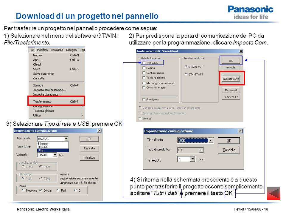 Panasonic Electric Works Italia Pew-It / 15/04/08 - 18 Download di un progetto nel pannello 1) Selezionare nel menu del software GTWIN: File/Trasferim
