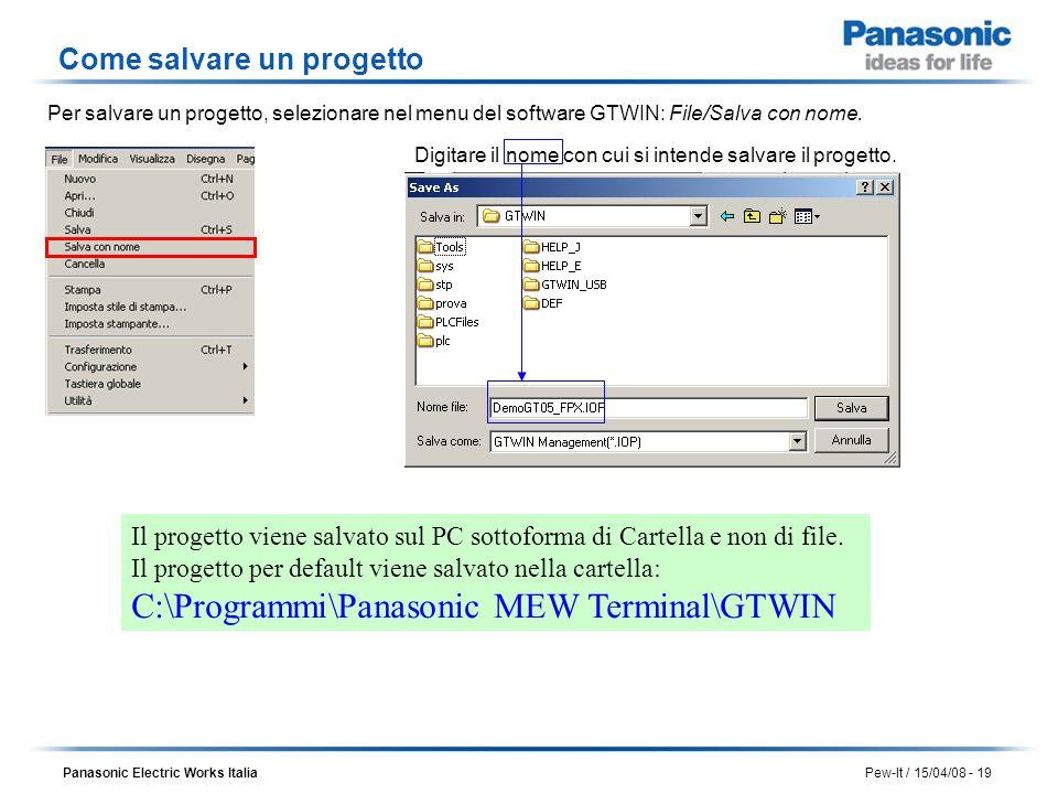 Panasonic Electric Works Italia Pew-It / 15/04/08 - 19 Il progetto viene salvato sul PC sottoforma di Cartella e non di file. Il progetto per default