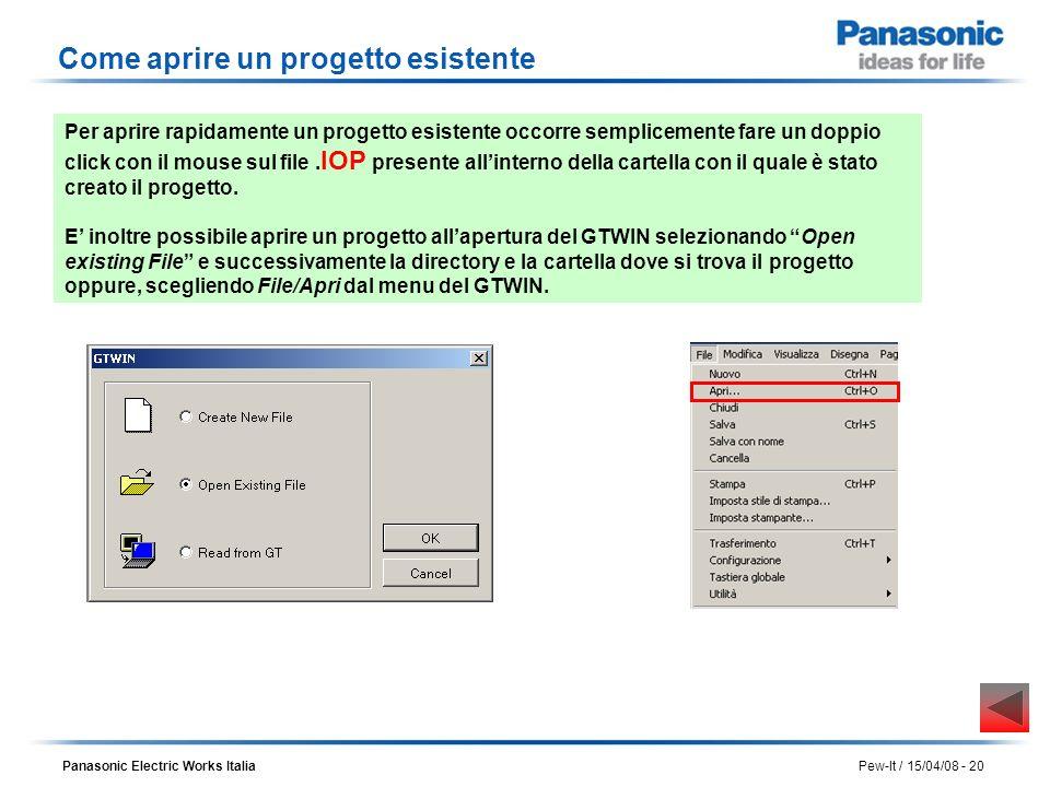 Panasonic Electric Works Italia Pew-It / 15/04/08 - 20 Come aprire un progetto esistente Per aprire rapidamente un progetto esistente occorre semplice