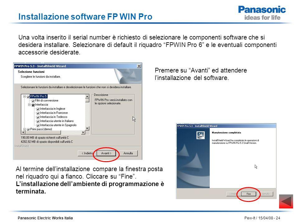 Panasonic Electric Works Italia Pew-It / 15/04/08 - 24 Una volta inserito il serial number è richiesto di selezionare le componenti software che si de