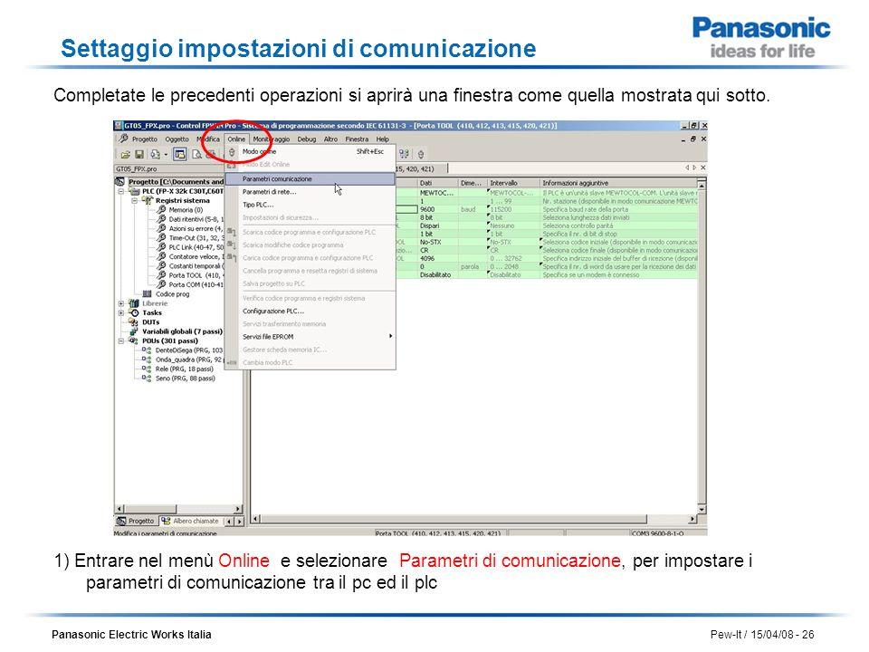 Panasonic Electric Works Italia Pew-It / 15/04/08 - 26 Settaggio impostazioni di comunicazione Completate le precedenti operazioni si aprirà una fines