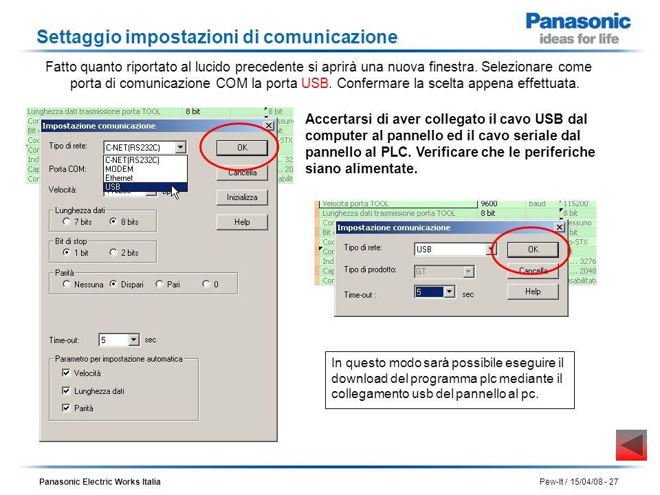 Panasonic Electric Works Italia Pew-It / 15/04/08 - 27 Settaggio impostazioni di comunicazione Accertarsi di aver collegato il cavo USB dal computer a